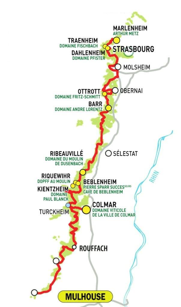 Carte domaines sélectionnés Strasbourg Gourmand Foire aux Vins